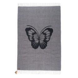 Tapis Papillon gris Gipsy coton 100x150cm Varanassi