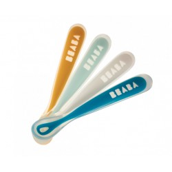 Lot de 4 cuillères 1er repas soft en silicone Rainbow (coloris assortis yellow/light blue/white/dark blue)