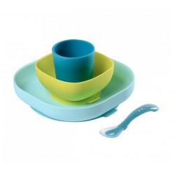 Set vaisselle silicone 4 pièces blue