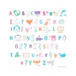 Kit lettres Alphabet illustré pastel pour lightbox - A little Lovely Company