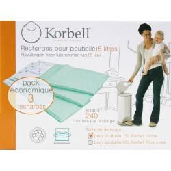 Recharges poubelle à couches 16L - Korbell