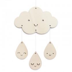 Petit mobile en bois nuage et gouttes - Zü