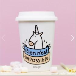 """Mug licorne """"Nothing is impossible"""" © Mr Wonderfull"""