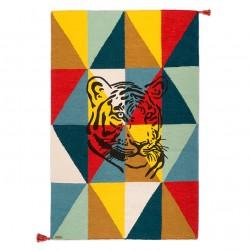 Tapis Arlequin Tigre bleu Circus laine 100x150cm Varanassi
