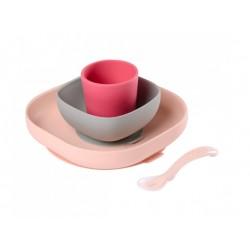 Set vaisselle silicone 4 pièces pink