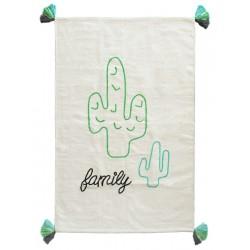 Tapis coton Blanc Cactus Family - Varanassi